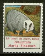 S7785 - DR Werbe Vignette Reklamemarke Findeisen Hannover,Dachs, Um 1910: Ungebraucht Ohne Gummi. - Vignetten (Erinnophilie)