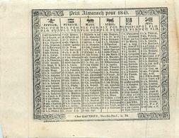 """Petit Almanach 1840 - Calendrier Calendar - """" Chez Gauthier , Marché Neuf , N°34 """" - Imprimeur A. Appert - Kalenders"""