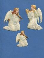 Chromo Decoupis  Gaufré Angelot  Ange  Musicien Violon Lyre  Environ 6,5  Et  4 Cm Hauteur 3 Anges - Angeles