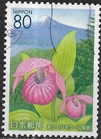 JAPAN (YAMANASHI PREFECTURE) 2005 Flowers Of Yamanashi - 80y - Lady's Slipper And Mt. Fuji FU - Used Stamps