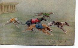 Belle Illustrée Signée Persis Kirmsz. LEVRIERS GREYHOUNDS EN COURSE - Chiens