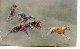 Belle Illustrée Signée Persis Kirmsz. LEVRIERS GREYHOUNDS EN COURSE 3 - Chiens