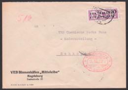 """Germany Magdeburg ZKD B11(7000) VEB Binnenhäfen """"Mittelelbe"""" Schiffe 14.10.57, BPP Geprüft, Nach Schkopau Merseburg - [6] République Démocratique"""