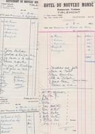 TIENEN-TIRLEMONT-RESTAURANT DU NOUVEAU MONDE-3-FACTURES-NOTES-1949+50-VOOR NOTARIS De STREEL-MOOIE STAAT ZIE 2 SCANS - Invoices