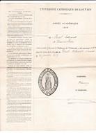 UNIVERSITE CATHOLIQUE DE LOUVAIN-DROIT-NOTARIAT-ANNEE ACADEMIQUE-1919-de STREEL-EDOUARD-BEAUVECHAIN-BEAU DOCUMENT - Diplômes & Bulletins Scolaires
