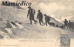 """1907? LANSLEBOURG  """"Marche Du Ravitaillement De La Turra"""". Chasseurs Alpins Dans La Neige En Racquettes. - Sports D'hiver"""