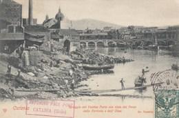 CATANIA-SPIAGGIA DEL VECCHIO PORTO CON VISTA DEL PAESE DELLA FERROVIA E DELL'ETNA-CARTOLINA VIAGGIATA NEL 1903 - Catania