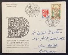 D303 Moselle Metz «XIIè Centenaire St Chrodégand» 1482 Mont St Michel +1468 8/5/1966 6jours Après PJ - Marcophilie (Lettres)