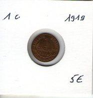 France. 1 Centime Daniel Dupuis 1919 - France