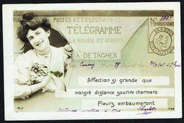 FEMME -  CP - Jeune Femme Sur Fond Représenatnt Un Télégramme - Circulé  - Circulated  - Gelaufen - 1906. - Femmes