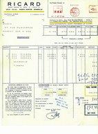 Facture - Congé : RICARD 1961 Avec Timbre Vignette - Alimentos