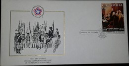 L) 1976 COLOMBIA, AMERICA REVOLUTION BICENTENNIAL, 1776-1976, PEOPLE, BATLLE, HORSE, FDC - Colombia