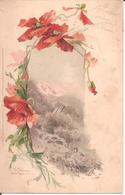 CPA ILLUSTRATEUR Catharina KLEIN - Fleurs - Coquelicots - Paysage De Montagne En Arrière-plan En 1904 (Dos Non Divisé) - Klein, Catharina