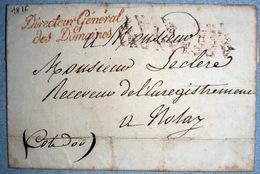 EN TETE DIRECTION DES DOMAINES + OBLITERATION  LETTRE DE NOMINATION 1816 - 1801-1848: Precursors XIX