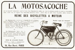 """PUB LA MOTOCYCLETTE  """" MOTOSACOCHE """"  1908 ( 1A ) - Voitures"""