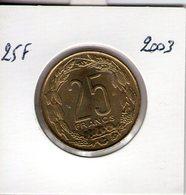 Banque Des états De L'afrique Centrale. 25 Francs. 2003 - Tsjaad