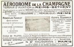 "PUB AERODROME De La CHAMPAGNE  "" REIMS-BETHENY ""  1909 - Champagne - Ardenne"