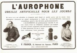 """PUB   OREILLE ARTIFICIELLE Pour Les SOURDS   """" L'AUROPHONE """"   1909 ( 1 ) - Technical"""