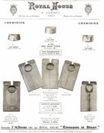 """PUB VETEMENTS - CHEMISES   """" ROYAL HOUSE """"  1909 ( 9 ) - Vintage Clothes & Linen"""