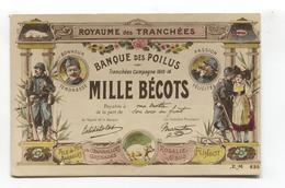 Royaume Des Tranchées,  Banque Des Poilus - Guerre 1914-18, First World War French Patriotic Postcard - War 1914-18