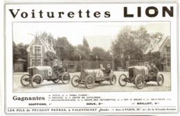 """PUB VOITURETTES   """" LION """" Des FILS PEUGEOT  1909 - Cars"""