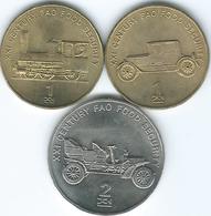 North Korea - 2002 - FAO - 1 Chon - Steam Train (KM195) & Car (KM196) & 2 Chon - Car (KM197) - Corea Del Norte