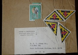 L) 1969 COLOMBIA, AVIANCA, AIRPLAE, TRIANGLE, UNIVERSITY OF THE ANDES, 5C, MICROSCOPE, AIRMAIL, CIRCULATED COVER FROM - Colombia