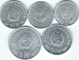 North Korea - 1 Chon - 2008; 5 Chon - 2008; 10 Chon - 2002; 50 Chon 2002 & 1 Won (KMs 1170-1174) - Korea, North
