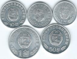 North Korea - 1 Chon - 2008; 5 Chon - 2008; 10 Chon - 2002; 50 Chon 2002 & 1 Won (KMs 1170-1174) - Corea Del Norte
