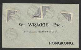 Macau Portugal Chine Lettre 1910 A Hong Kong Timbres Bissect 2a D Carlos Macao China Cover D Carlos Bisect Stamp - Macao