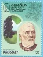 Uruguay 2019 ** Bicentenario De Don Pascual Harriague. Viticultura. Vino. Viñedos. Francia En El Mundo. - Vinos Y Alcoholes