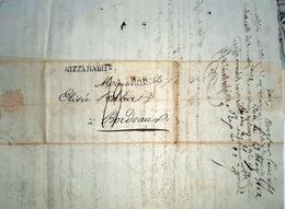 06 NICE ANTIBES   OBLITERATION NIZZA MARITIME CACHET ROUGE PAR ANTIBES 1822 - Marcophilie (Lettres)