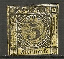 BADE -  Yv.,Mi. N°2 (o)  3k Jaune Clair  Cote 18 Euro BE R 2 Scans - Baden