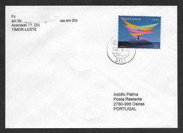 Timor Oriental Lettre Voyagé 2002 Dili A Poste Restante Portugal Timbre UNTAET 2002 East Timor Postally Used Cover - East Timor