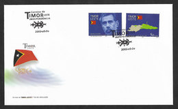 Timor Oriental Serie Independence Président Xanana Carte Drapeau Afinsa 2002 FDC East Timor Independence  Map Flag FDC - Timor Oriental
