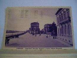 1934 - Firenze - Lungarno A. Vespucci E Corso V. Emanuele - Animata - Cartolina Storica Originale - Firenze