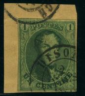 N°9 - 1c Vert - Belle Nuance - Très Bien Margé, Sur Fragment - Oblit. Dison - Grande Fraîcheur - 1858-1862 Medaillen (9/12)