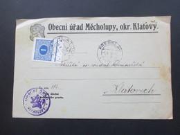 Böhmen Und Mähren 6.5.1939 Mitläufer Portomarke M P 62 Vom Unterrand Als EF Obecni Urad Mecholupy, Okr. Klatovy - Briefe U. Dokumente