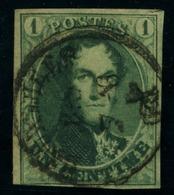 N°9 - 1c Vert , Très Bien Margé, Oblit. Bruxelles, Petit Coup De Ciseau - 1858-1862 Medaillen (9/12)