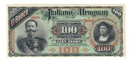 100 PESOS  BANCO ITALIANO DELL'URUGUAY 20 09 1887 R2 Q.fds/fds Lotto.1720 - Uruguay