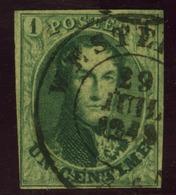 N°9 - 1c Vert , Bien Margé, Oblit.Westerloo - 1858-1862 Medaillen (9/12)