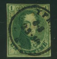 N°9 - 1c Vert , Bien Margé, Oblit.Ypres - 1858-1862 Medaillen (9/12)