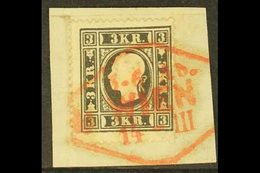 1858 3kr Black, Type I, Mi 11I, SG 23, Fine Used On Piece With Red Wien Cancel. For More Images, Please Visit Http://ww - Unclassified