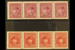 "1948 3c Rose Violet And 4c Dark Carmine War Effort Coil ""Jump"" Strips Of 4, Imperf X Perf 9½, Uni 280i/281i, Very Fine N - Unclassified"