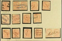 """1868 1p Rose Red Type I (Scott 57b, SG 56) - Fifteen Used Examples Incl Two Pairs Wit Postmark Interest Such As Oval """"Pa - Colombia"""