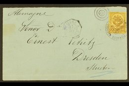 """1890 COVER TO GERMANY Bearing 1890-91 10c Brown On Yellow Tied By Fine """"CORREOS NACIONALES BOGOTA / OTT 20, 1890""""  Cds C - Colombia"""