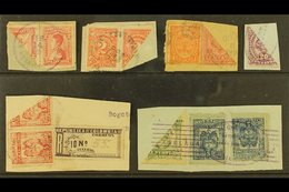 1899-1921 BISECTS. An Interesting Group Of All Different Diagonally BISECTED Stamps With Values To 10p, Used On Pieces M - Colombia