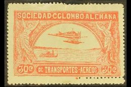 SCADTA 1920-21 30c Rose Hydroplane With DOUBLE PERFORATION At Bottom Right Variety (Scott C15, SG 14), Fine Mint, Light  - Colombia