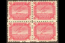 1893-1900 (perf 11) 1s Deep Carmine Torea (SG 20a) - A Very Fine Mint BLOCK OF FOUR, The Lower Pair NEVER HINGED. For Mo - Cook Islands