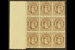 1893-1900 1d Brown Queen, SG 5, A Superb Left Marginal Block Of Nine, Fine Mint With Eight Being Never Hinged, Very Mino - Cook Islands